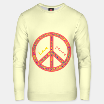 Thumbnail image of Peace and love, colorful and groovy hippie sign, 60's symbol of freedom Unisex sweater, Live Heroes