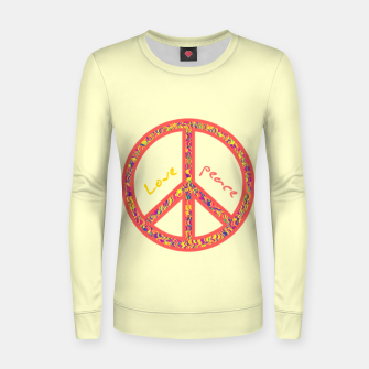 Thumbnail image of Peace and love, colorful and groovy hippie sign, 60's symbol of freedom Women sweater, Live Heroes