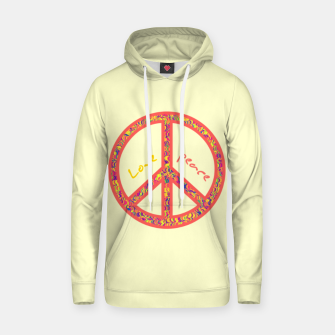 Thumbnail image of Peace and love, colorful and groovy hippie sign, 60's symbol of freedom Hoodie, Live Heroes