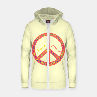 Thumbnail image of Peace and love, colorful and groovy hippie sign, 60's symbol of freedom Zip up hoodie, Live Heroes