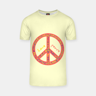 Thumbnail image of Peace and love, colorful and groovy hippie sign, 60's symbol of freedom T-shirt, Live Heroes