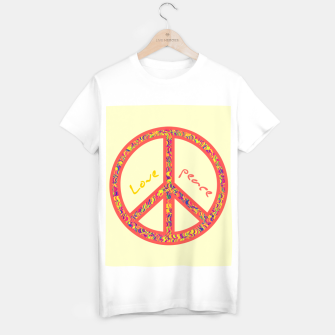 Thumbnail image of Peace and love, colorful and groovy hippie sign, 60's symbol of freedom T-shirt regular, Live Heroes