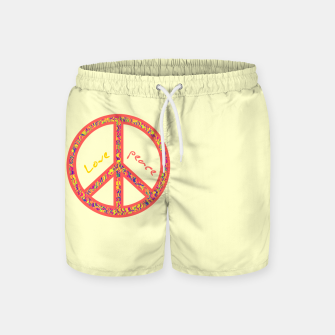 Thumbnail image of Peace and love, colorful and groovy hippie sign, 60's symbol of freedom Swim Shorts, Live Heroes