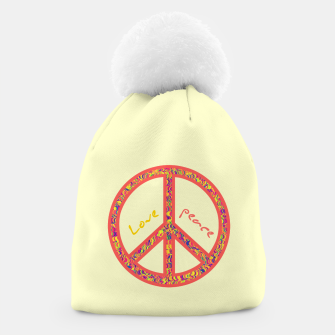 Thumbnail image of Peace and love, colorful and groovy hippie sign, 60's symbol of freedom Beanie, Live Heroes