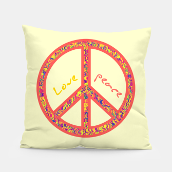 Thumbnail image of Peace and love, colorful and groovy hippie sign, 60's symbol of freedom Pillow, Live Heroes