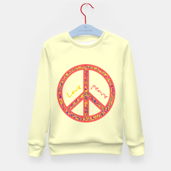 Thumbnail image of Peace and love, colorful and groovy hippie sign, 60's symbol of freedom Kid's sweater, Live Heroes