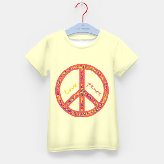 Thumbnail image of Peace and love, colorful and groovy hippie sign, 60's symbol of freedom Kid's t-shirt, Live Heroes