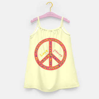 Thumbnail image of Peace and love, colorful and groovy hippie sign, 60's symbol of freedom Girl's dress, Live Heroes