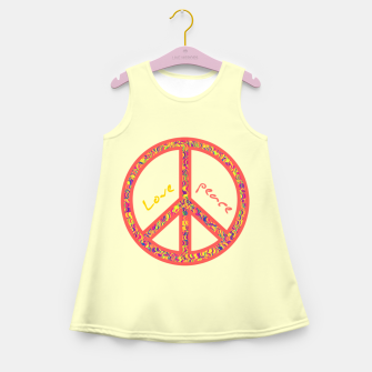 Thumbnail image of Peace and love, colorful and groovy hippie sign, 60's symbol of freedom Girl's summer dress, Live Heroes