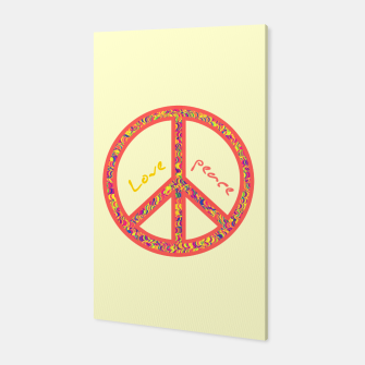 Thumbnail image of Peace and love, colorful and groovy hippie sign, 60's symbol of freedom Canvas, Live Heroes