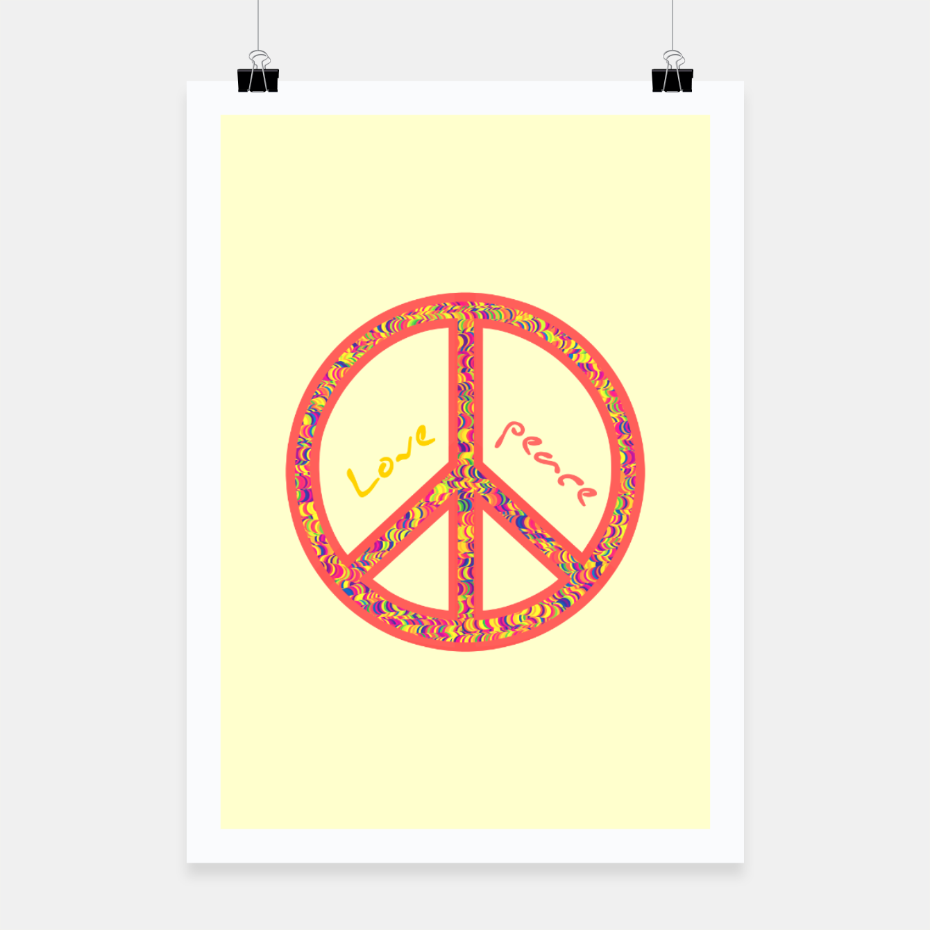 Image of Peace and love, colorful and groovy hippie sign, 60's symbol of freedom Poster - Live Heroes