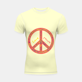 Thumbnail image of Peace and love, colorful and groovy hippie sign, 60's symbol of freedom Shortsleeve rashguard, Live Heroes