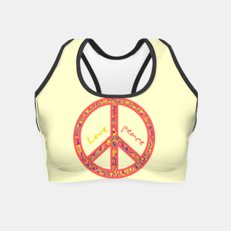 Thumbnail image of Peace and love, colorful and groovy hippie sign, 60's symbol of freedom Crop Top, Live Heroes