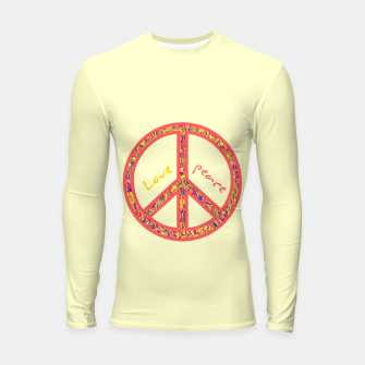 Thumbnail image of Peace and love, colorful and groovy hippie sign, 60's symbol of freedom Longsleeve rashguard , Live Heroes