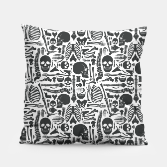 Thumbnail image of Human Skeleton Goth Pattern Pillow, Live Heroes