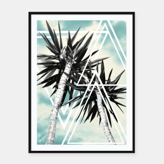 Imagen en miniatura de Cali Summer Vibes Palm Trees Geometric Triangles #1 #tropical #decor #art  Plakat mit rahmen, Live Heroes