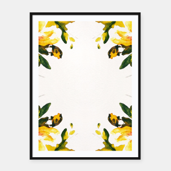 Imagen en miniatura de Watercolor abstact yellow flowers Framed poster, Live Heroes