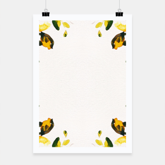 Miniatur Watercolor abstact yellow flowers Poster, Live Heroes