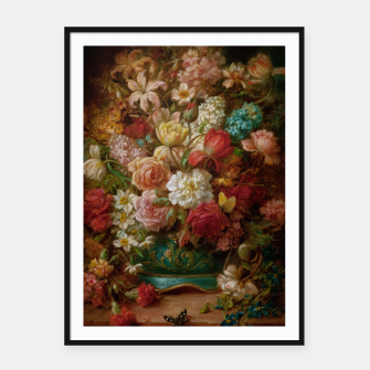 Imagen en miniatura de Bouquet Of Flowers With Butterflies by Hans Zatzka Framed poster, Live Heroes