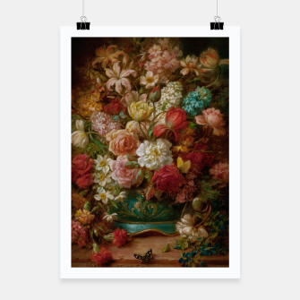 Miniatur Bouquet Of Flowers With Butterflies by Hans Zatzka Poster, Live Heroes