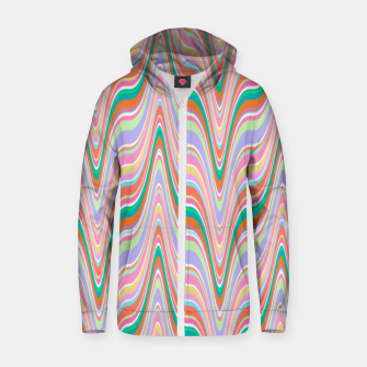Thumbnail image of Infinity, retro colors of abstract ikat chevron pattern Zip up hoodie, Live Heroes