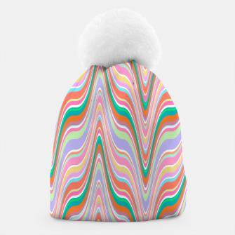 Thumbnail image of Infinity, retro colors of abstract ikat chevron pattern Beanie, Live Heroes