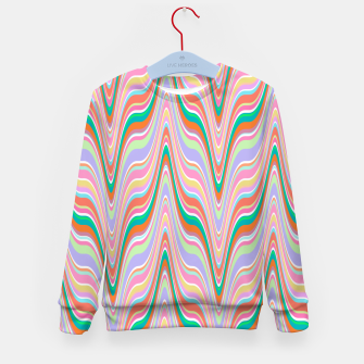 Thumbnail image of Infinity, retro colors of abstract ikat chevron pattern Kid's sweater, Live Heroes