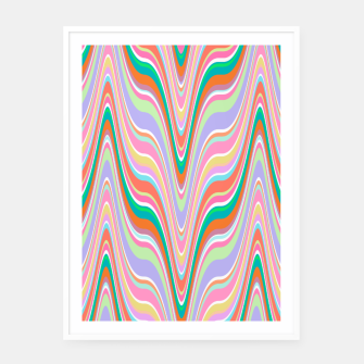 Thumbnail image of Infinity, retro colors of abstract ikat chevron pattern Framed poster, Live Heroes