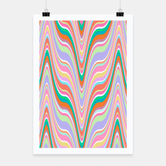 Thumbnail image of Infinity, retro colors of abstract ikat chevron pattern Poster, Live Heroes