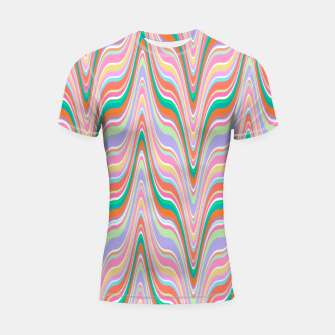 Thumbnail image of Infinity, retro colors of abstract ikat chevron pattern Shortsleeve rashguard, Live Heroes