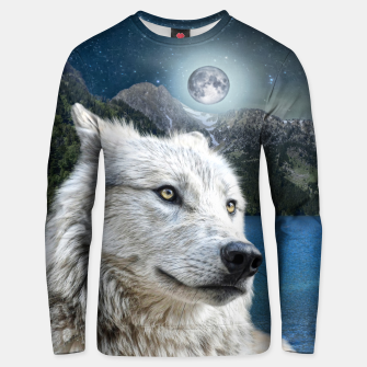 Miniaturka White Wolf and Moonlight Unisex sweater, Live Heroes