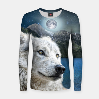 Miniaturka White Wolf and Moonlight Women sweater, Live Heroes