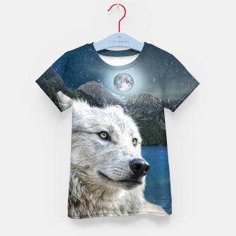 Miniaturka White Wolf and Moonlight Kid's t-shirt, Live Heroes