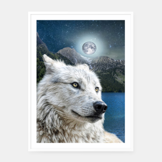 Miniaturka White Wolf and Moonlight Framed poster, Live Heroes