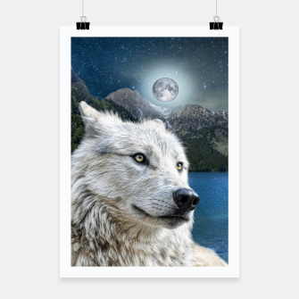Miniatur White Wolf and Moonlight Poster, Live Heroes