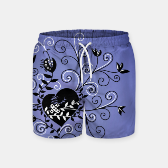 Thumbnail image of Broken Heart Is Fixed Purple Swim Shorts, Live Heroes