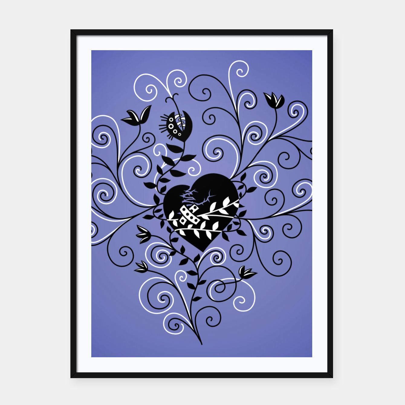 Image of Broken Heart Is Fixed Purple Framed poster - Live Heroes