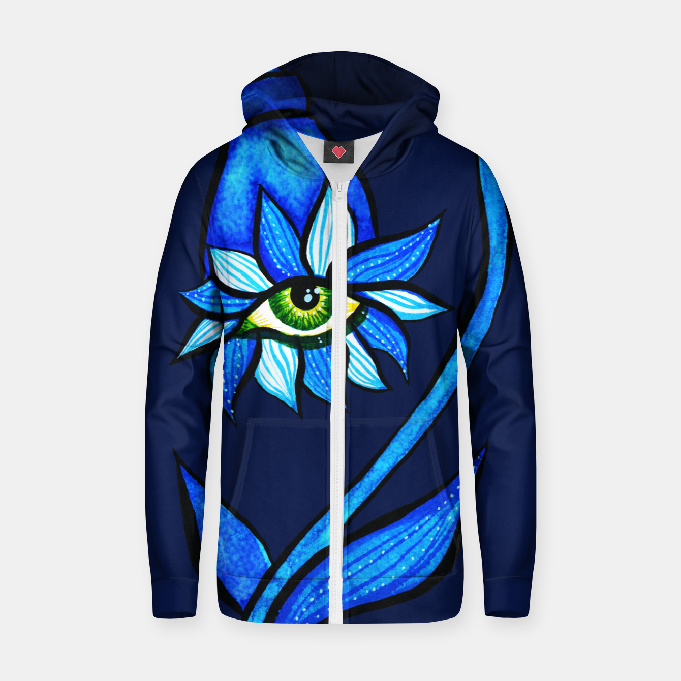 Image of Creepy Eye Flower In Blue Zip up hoodie - Live Heroes
