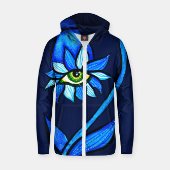Thumbnail image of Creepy Eye Flower In Blue Zip up hoodie, Live Heroes