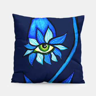 Thumbnail image of Creepy Eye Flower In Blue Pillow, Live Heroes