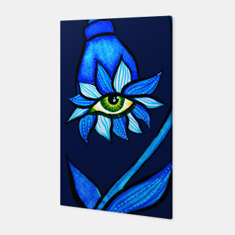 Thumbnail image of Creepy Eye Flower In Blue Canvas, Live Heroes