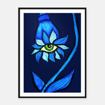 Thumbnail image of Creepy Eye Flower In Blue Framed poster, Live Heroes