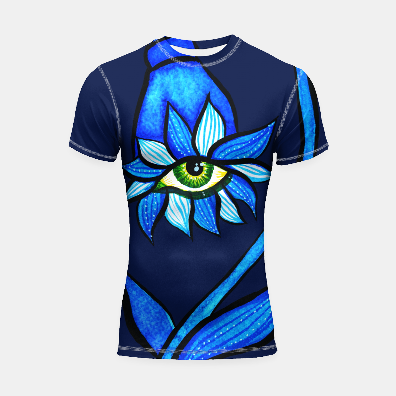 Image of Creepy Eye Flower In Blue Shortsleeve rashguard - Live Heroes