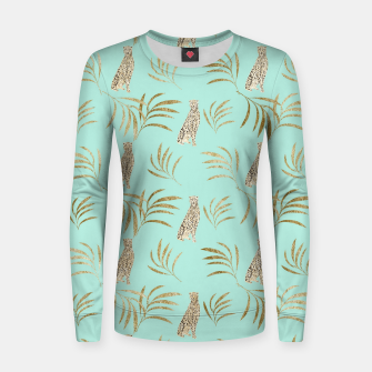 Thumbnail image of Cheetah Eucalyptus Glam Pattern #6 #tropical #decor #art  Frauen sweatshirt, Live Heroes