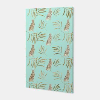 Thumbnail image of Cheetah Eucalyptus Glam Pattern #6 #tropical #decor #art  Canvas, Live Heroes