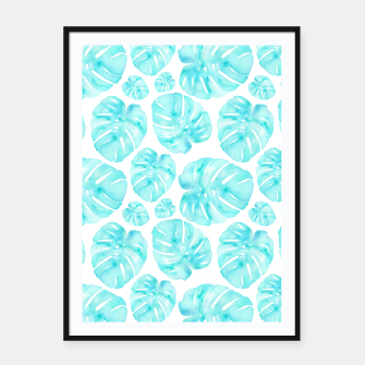 Imagen en miniatura de Aqua Monstera on White Framed poster, Live Heroes