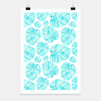 Miniatur Aqua Monstera on White Poster, Live Heroes