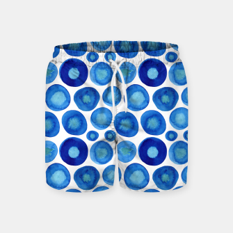 Thumbnail image of Classic Blue and White Watercolour Pattern Swim Shorts, Live Heroes