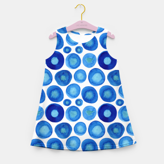Thumbnail image of Classic Blue and White Watercolour Pattern Girl's summer dress, Live Heroes