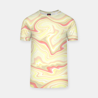 Thumbnail image of Elegant cream color marble stone pattern, pink yellow and ivory abstract illustration T-shirt, Live Heroes